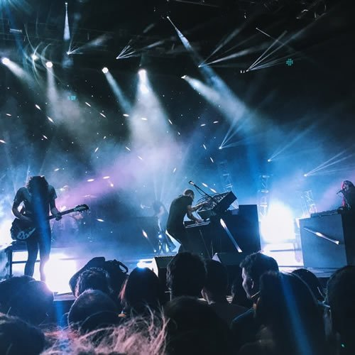 lights flashing and musicians jamming